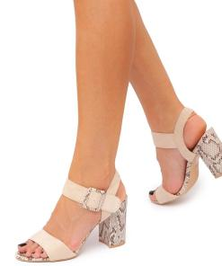 Sandale dama Rashade cu design piele de sarpe Bej