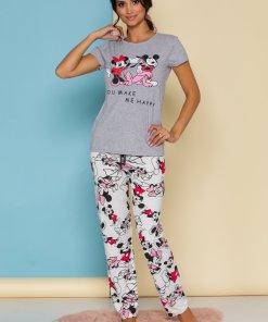 Pijama Happy Disney Friends cu tricou gri si pantaloni albi cu imprimeu