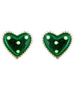 Cercei Argint 925 pentru copii, Heart & Dots - Green