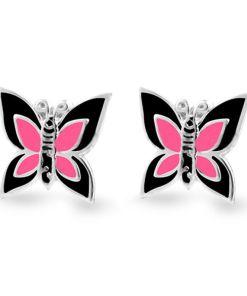 Cercei Argint 925 pentru copii, Little Black & Fuchsia Butterfly