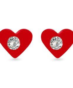 Cercei Argint 925 pentru copii, Sparkling Red Heart