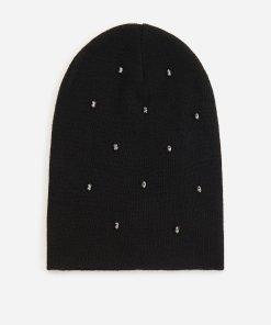 Reserved - Căciulă neagră cu cristale - Negru
