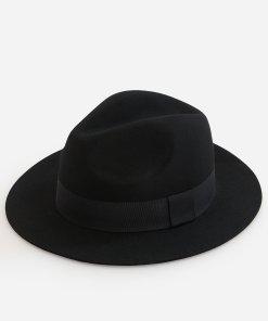 Reserved - Pălărie fedora din lână - Negru