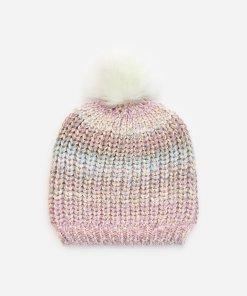 Reserved - Căciulă cu pompon din blană - Multicolor