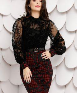 Rochie Tereza neagra din tull cu insertii de catifea si fusta rosie