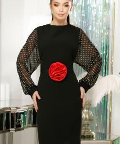 Rochie Serena neagra tip sarafan cu bluza din voal negru cu buline crem si curea cu floare rosie din satin