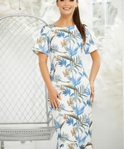 Rochie Zoey alba cu frunze albastre imprimate