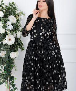 Rochie Yolanda neagra din catifea cu buline si tull