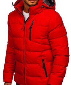 Geacă de iarnă roșie matlasată Bolf J1906