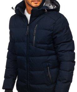 Geacă de iarnă bleumarin matlasată Bolf J1906