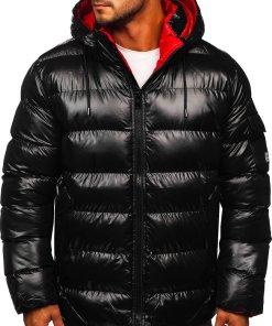 Geacă de iarnă bărbați neagră-roșie matlasată Bolf 6461