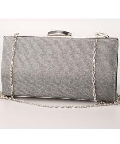 Geanta clutch gri cu rama metalica - cod 39410