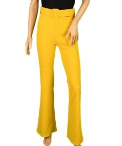 Pantaloni evazati PrettyGirl galben - cod 32589