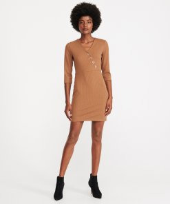 Reserved - Rochie din tricot - Maro