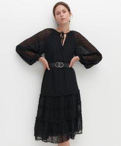 Reserved - Rochie din stofă plumetis - Negru
