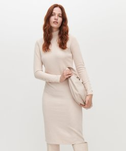 Reserved - Rochie din tricot reiat - Bej