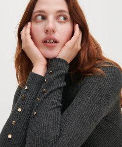 Reserved - Rochie din tricot reiat - Gri