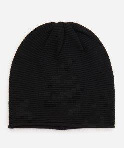 Reserved - Căciulă neagră, din jerseu de tricot striat - Negru