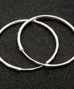 Creole 3.4 cm Silver din argint rodiat CAG049