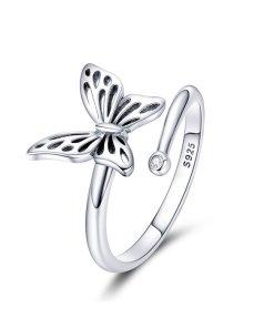 Inel din argint reglabil Beautiful Butterfly