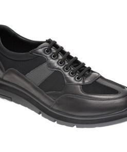 Pantofi OTTER negri, TTP43, din material textil si piele naturala