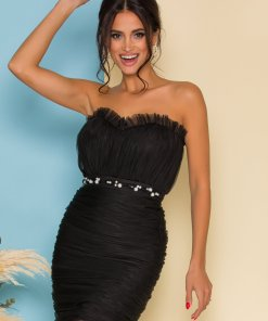 Rochie LaDonna neagra din tull plisat cu perle in talie