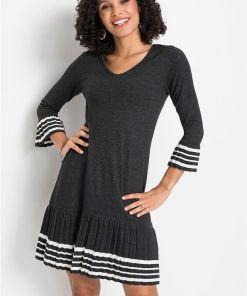 Rochie tricotată cu poală plisată - gri
