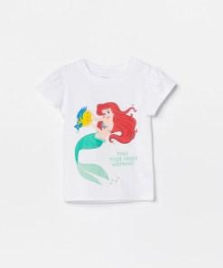 Reserved - Tricou din bumbac, cu prințesa Ariel - Alb