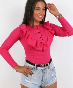 Bluza dama basic roz inchis reiata cu volanase si nasturi