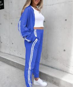 Trening dama casual albastru cu dungi din bumbac cu hanorac fashion