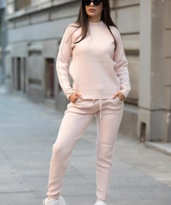 Trening dama lung din tricot roz cu dungi subtiri albe