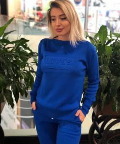 Trening dama din tricot gros albastru cu inscriptie 3D LOVE'S