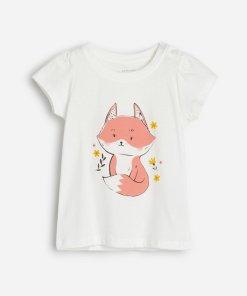 Reserved - Tricou din bumbac, cu vulpe -