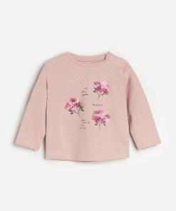 Reserved - Tricou din bumbac cu inscripție - Roz
