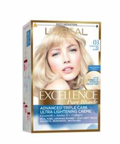 Vopsea de par permanenta L'Or??al Excellence, 03 Blond Ultra Deschis Cenusiu, 182 ml-dublat