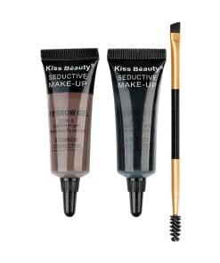 Kit sprancene 2 geluri + pensula & perie aplicare #01 Browlicious Kiss Beauty