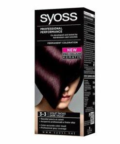 Vopsea de par permanenta Syoss Color Baseline, 3-3 Violet Inchis, 115 ml