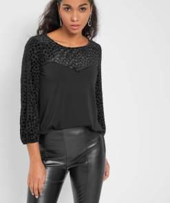 Bluză din velur cu buline Negru