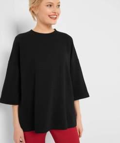 Bluză striată oversize Negru