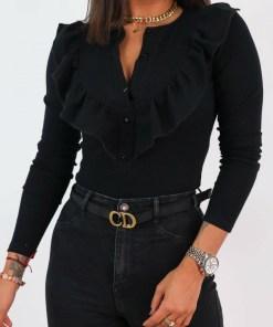 Bluza dama basic neagra reiata cu volanase si nasturi