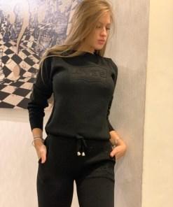 Trening dama din tricot gros negru cu inscriptie 3D LOVE'S