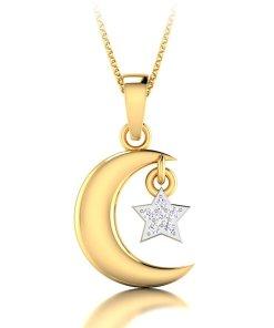 Pandantiv de aur de 14K decorat cu 6 diamante 3281295