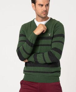 Pulover din amestec de lana - cu decolteu in V si dungi 3177387