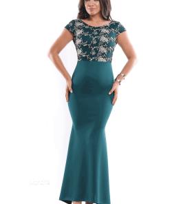 Rochie de seara lunga verde cu corset brodat