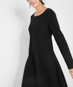 Rochie tricotată cu bumbac reciclat - negru