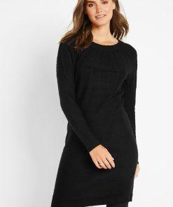 Rochie tricotată cu detalii ripsate - negru