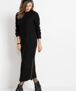 Rochie tricotată cu fermoar - negru