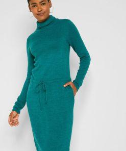 Rochie tricotată cu guler înalt - albastru