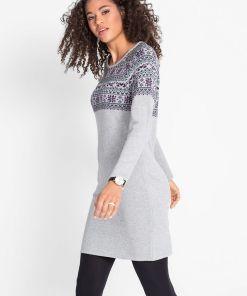 Rochie tricotată jacquard - gri