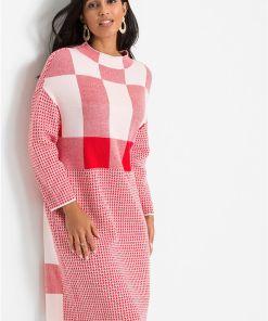 Rochie tricotată stil color-blocking - alb